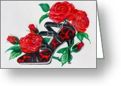 Straps Greeting Cards - Red Leopard Roses Greeting Card by Karon Melillo DeVega