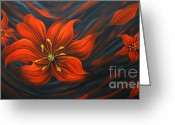 Flower Photographs Painting Greeting Cards - Red Lily Greeting Card by Uma Devi