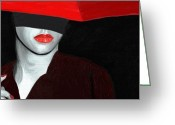 Portraits Greeting Cards - Red Lips and Umbrella Greeting Card by James Shepherd
