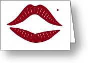 Kissing Greeting Cards - Red Lips Greeting Card by Frank Tschakert