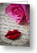 Note Greeting Cards - Red lips On Letter Greeting Card by Garry Gay