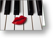 Composing Greeting Cards - Red lips on piano keys Greeting Card by Garry Gay