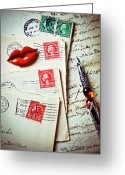 Love Letter Greeting Cards - Red lips pin and old letters Greeting Card by Garry Gay