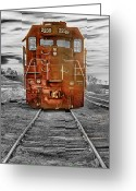 Bo Insogna Greeting Cards - Red Locomotive Greeting Card by James Bo Insogna