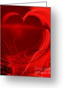 Mandelbrot Set Greeting Cards - Red Love . A120423.279 Greeting Card by Wingsdomain Art and Photography