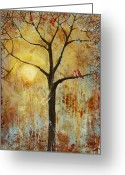Rust Greeting Cards - Red Love Birds in a Tree Greeting Card by Blenda Tyvoll