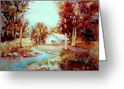 Autumn In The Country Painting Greeting Cards - Red Maples At The Lake House Quebec Watercolor Summer Scene Greeting Card by Carole Spandau