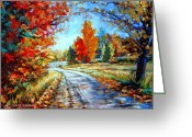Autumn In The Country Greeting Cards - Red Maples Autumn Landscape Road Through Quebec Greeting Card by Carole Spandau
