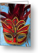 Wooden Board Greeting Cards - Red Mask Greeting Card by Garry Gay