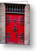 Red Door Greeting Cards - Red medieval door Greeting Card by Elena Elisseeva