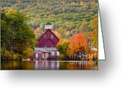 Grafton County Greeting Cards - Red Mill in Autumn Greeting Card by Susan Cole Kelly