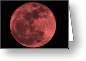 Lunar Greeting Cards - Red Moon Greeting Card by Bill Cannon