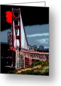 Ggbridge Greeting Cards - Red Moon Over The Golden Gate Bridge Greeting Card by Wingsdomain Art and Photography