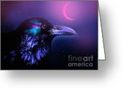 Midnight Greeting Cards - Red Moon Raven Greeting Card by Robert Foster