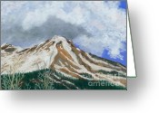 Snow Capped Pastels Greeting Cards - Red Mountain in Snow Greeting Card by Ginny Neece