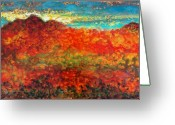 Gold Mountain Mixed Media Greeting Cards - Red Mountain Greeting Card by Marie Baehr