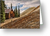 Old Mines Greeting Cards - Red Mountain Mining Shack Greeting Card by Lana Trussell