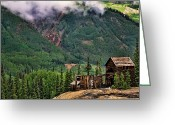 Old Cabins Greeting Cards - Red Mountain Remnants Greeting Card by Lana Trussell