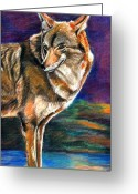 Wolves Mixed Media Greeting Cards - Red Mountain Wolf Greeting Card by John Keaton