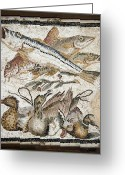 Cuisine Artwork Greeting Cards - Red Mullets And Ducks, Roman Mosaic Greeting Card by Sheila Terry
