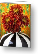 Spider Flower Greeting Cards - Red mums in striped vase Greeting Card by Garry Gay