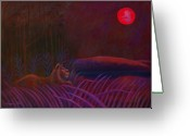 Lions Painting Greeting Cards - Red Night Painting 48 Greeting Card by Angela Treat Lyon
