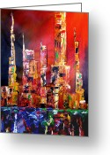 Figures Mixed Media Greeting Cards - Red Nights Greeting Card by Tom Fedro - Fidostudio