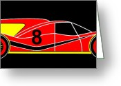 Asbjorn Lonvig Greeting Cards - Red Number 8 Racing Car Virtual Car Greeting Card by Asbjorn Lonvig