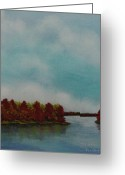Oak Pastels Greeting Cards - Red Oaks On The River Greeting Card by Richard Van Order