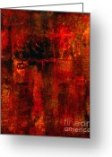 Red Abstract Greeting Cards - Red Odyssey Greeting Card by Pat Saunders-White