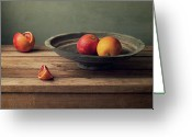 Israel Greeting Cards - Red Oranges On Vintage Plate Greeting Card by Copyright Anna Nemoy(Xaomena)