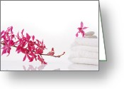 On White Greeting Cards - Red Orchid With Towel Greeting Card by Atiketta Sangasaeng