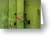 Security Greeting Cards - Red padlock Greeting Card by Bernard Jaubert