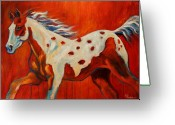 Running Horse Greeting Cards - Red Paint Greeting Card by Theresa Paden