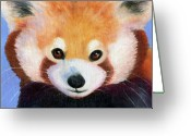 Bears Painting Greeting Cards - Red Panda Greeting Card by Astrid Paustian