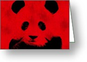 Panda Greeting Cards - Red Panda Greeting Card by Laura Brightwood