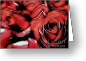 Wife Gift Greeting Cards - Red Passion Greeting Card by Zeana Romanovna