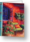 Blue Flowers Pastels Greeting Cards - Red Patio Greeting Card by Candy Mayer