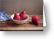 Israel Greeting Cards - Red Pears In White Bowl Greeting Card by Copyright Anna Nemoy(Xaomena)
