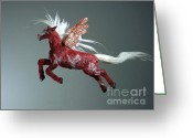 Music Sculpture Greeting Cards - Red Pegasus Greeting Card by Kathy Holman