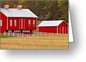 Pennsylvania Dutch Greeting Cards - Red Pennsylvania Dutch Barn and White Fence Greeting Card by Brian Mollenkopf