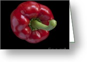 Square_format Greeting Cards - Red Pepper Greeting Card by Heiko Koehrer-Wagner