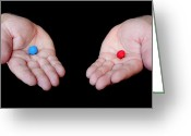 Pill Greeting Cards - Red Pill Blue Pill Greeting Card by Semmick Photo