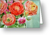 Watercolor By Irina Greeting Cards - Red Pink and Gorgeous Greeting Card by Irina Sztukowski