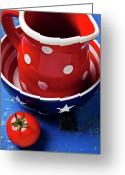 Round Table Greeting Cards - Red pitcher and tomato Greeting Card by Garry Gay