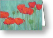 Sunflower Studio Art Greeting Cards - Red Poppies 2 Colorful Flowers Art Greeting Card by K Joann Russell