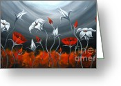 Landscape Framed Prints Greeting Cards - Red Poppies and Tulip Greeting Card by Uma Devi