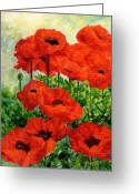 Sunflower Studio Art Greeting Cards - Red  Poppies in Shade Colorful Flowers Garden Art Greeting Card by K Joann Russell