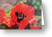 Flower Blossom Pastels Greeting Cards - Red Poppies Greeting Card by Terri Thompson