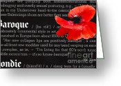 Balenciaga Greeting Cards - Red Poppy Baroque Greeting Card by Anahi DeCanio
